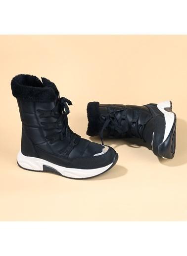 Kiko Kids Kiko TWG 7455 Kışlık ıçi Termal Kürklü Kız Çocuk Ayakkabı Kar Botu Siyah